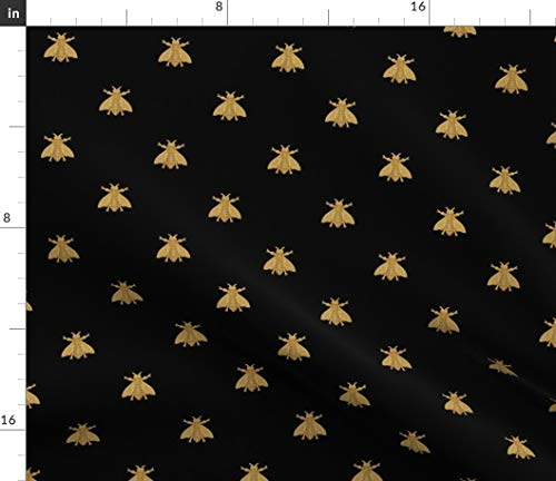 Napoleon Fabric - Bees Fabric - Bees Home Decor Napoleon Bee Gilt Black Antique Gold Honeybees Modern Home Decor Print on Fabric by The Yard - Sport Lycra for Swimwear Performance Leggings Apparel Fashion
