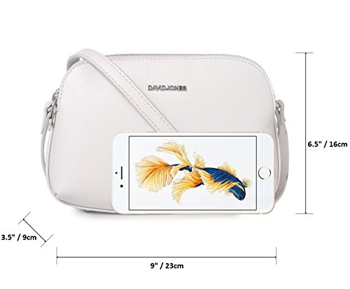 Saddle Leather Fashion Multi Faux Zipper Pockets Jones Ladies Bag Messenger Handbag White Purse Medium Women's Shoulder Crossbody Travel Basic Black Wallet David wqOWtagIfW