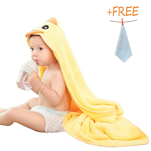 - Flowertale Baby Hooded Towel with Free 1 Washcloths Bath,Baby Gift,Coral Fleece Blanket,Cartoon Animal Face 35