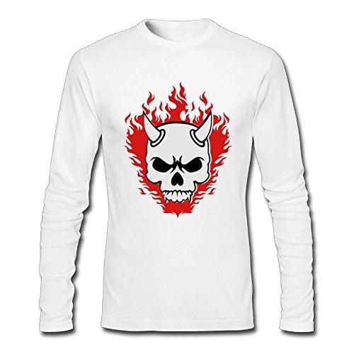 SKKT Men's Custom Devil Skull T-Shirt Casual Slim Fit Crew Neck Long-Sleeve Tee