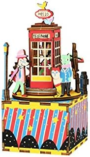 DIY Build It Yourself Wooden Music Box KitHand Crank (Phone Booth) Plays Old to Joy Tune