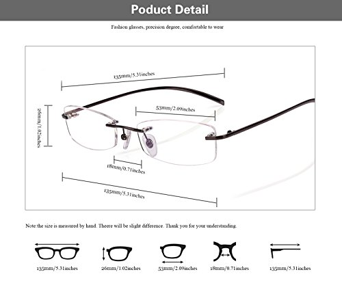 8b293d0469 Agstum Pure Titanium Rimless Glasses Prescription Eyeglasses Rx ...