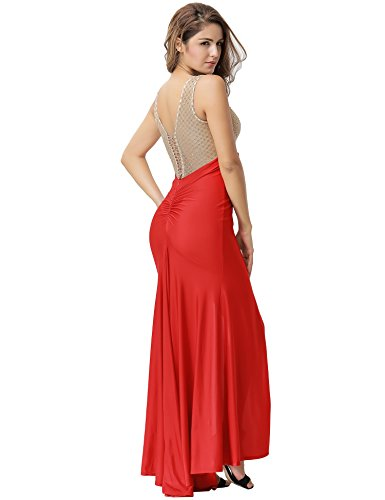 Women nbsp;Sleeveless Dress Lace 2XL Evening Maxi Size Slit Gold comeondear M Red TZq6dwnxZ7
