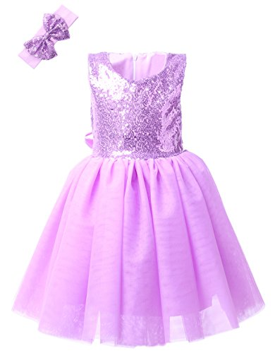- Cilucu Girl Dress Kids Party Dress Toddlers Sequin Tutu Dress Birthday Pageant Wedding Bridesmaid Dress Gown Purple 2T-3T