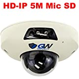 GW Security 5 Megapixel Sony Starvis HD 1920P PoE 1.9mm 160° Wide Angle Night Vision 2 Way Audio Security Mini Dome IP Camera Built-In Microphone and Micro SD slot, Audio Recording Power Over Ethernet