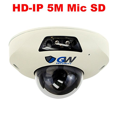 Security 5MP (2592 x 1920P) PoE 160° Super Wide Angle 2 Way Audio Sony Starvis Security Small Dome IP Camera Built-in Microphone and Micro SD Slot (up to 128GB), Audio Recording