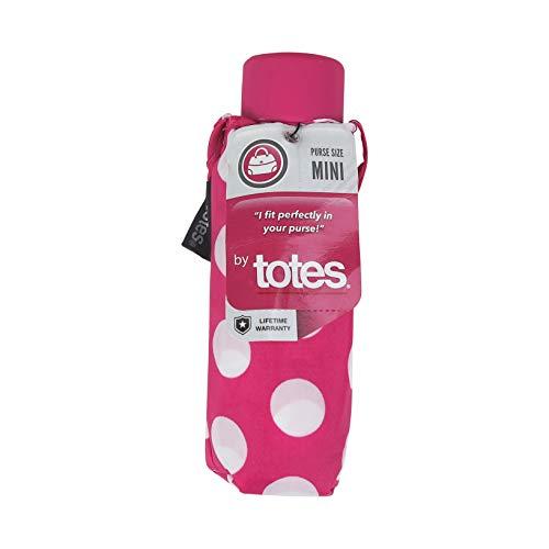 TOTES MICRO MINI PURSE MANUAL UMBRELLA-MANY STYLES (Pink Polka Dot)