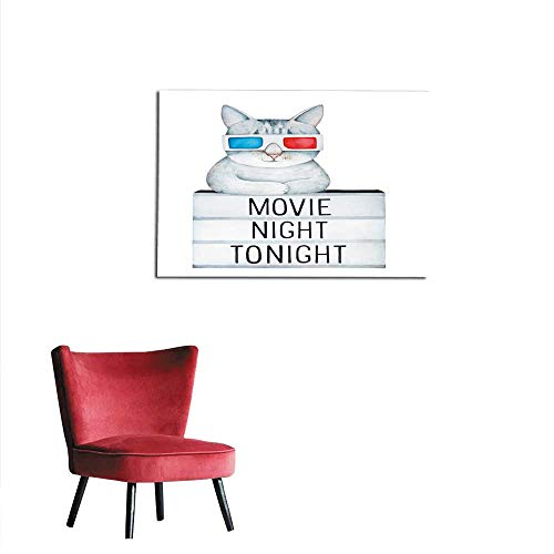 homehot Wall Picture Decoration Cute Gray Tabby cat Wearing Classic Cardboard D Eye Glasses Resting on Light Box Board with Text Inscription Movie Night Tonight Mural ()