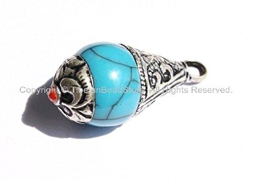 Blue Crackle Copal Tibetan Healing Amulet Pendant with Tibetan Silver Caps - Handmade Ethnic Tibetan Pendant - Tibetan Silver Amulet Pendants