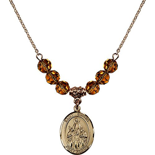 18-Inch Hamilton Gold Plated Necklace with 6mm Yellow November Birth Month Stone Beads and Saint Sophia ()