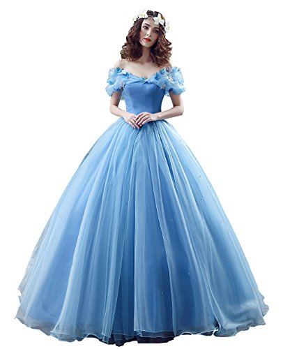 Datangep Wome's Blue Puffy Banquet Gown for Girl's Special Occasions US (Big Puffy Dresses For Halloween)