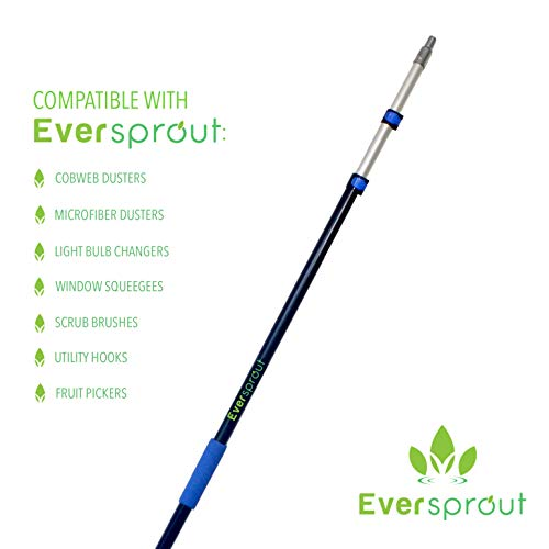 EVERSPROUT 7-to-19 Foot Cobweb Duster and Extension-Pole Combo (25 Ft. Reach, Soft Bristles)   Hand Packaged   Lightweight, 3-Stage Aluminum Pole   Indoor & Outdoor Use Brush Attachment by EVERSPROUT (Image #1)