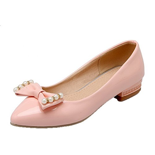 AllhqFashion Womens Low-Heels PU Solid Pull-On Pointed Closed Toe Pumps-Shoes Pink 9vuR1vD