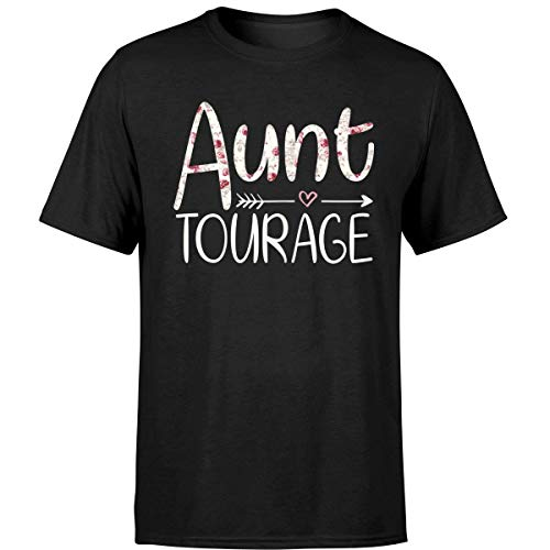 MomLifeLiving Womens Aunt Tourage with Cupid and Heart Birthday T Shirt (Unisex T-Shirt/Black/L)]()