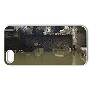 Luxembourg-Grund - Case Cover for iPhone 5 and 5S (Monuments Series, Watercolor style, White)