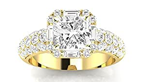 1.8 Ctw 14K Yellow Gold GIA Certified Cushion Cut Designer Popular Halo Style Baguette And Pave Set Round Diamond Engagement Ring, 1 Ct I-J SI1-SI2 Center