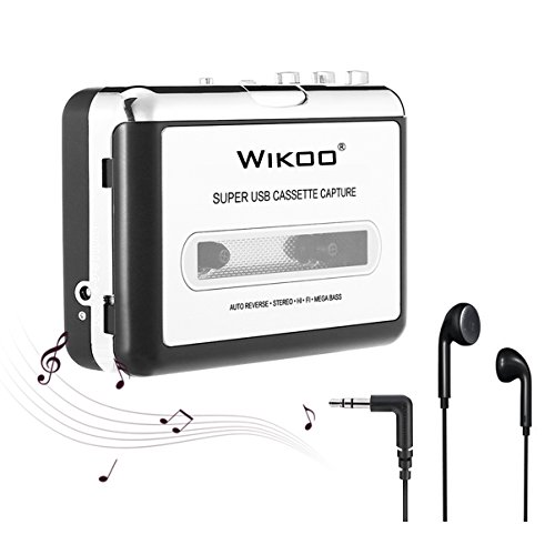 Cassette Tape to MP3 Converter, Wikoo USB Cassette Converter Portable Cassette Player, Compatible with Laptops and PC, Convert Tape Cassettes to MP3 (Walkman Speaker System)
