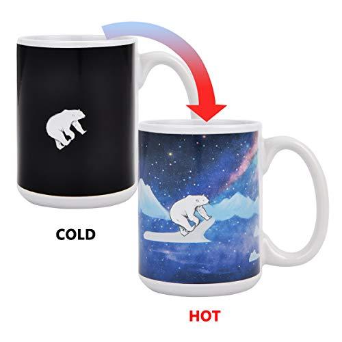 (Heat Sensitive Color Changing Coffee Mug Cute Polar Bear Mugs for Women Funny Coffee Cup Large Coffee Mug Magic Heat Color Changing Coffee Mug 15 oz)