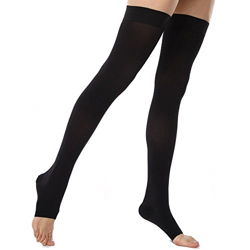 Koolfree Microfiber Medical Grade Graduated Compression Stockings For Men And Women  Thigh High Socks  Open Toe  23 32Mmhg  Xxxl  Black