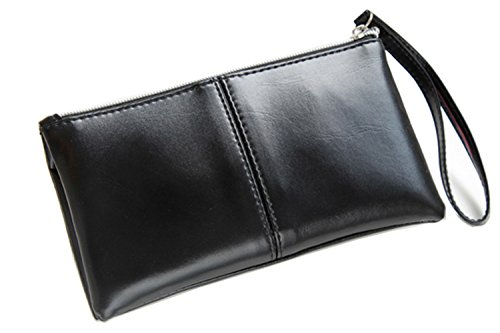 ZOONAI Women's Long Leather Zipper Clutch Wallet Credit Card Holder with Wristlet (Black)