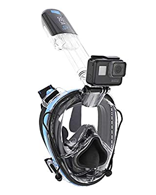 Deep Sea O2 | Only Full Face Snorkel Mask Designed to Protect Against Dangerous CO2 Build-Up | Panoramic View | Soft Nose for Diving | Anti-Fog | Camera Mount | Universal Size- Kids to Adult