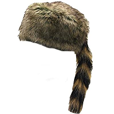 Country Axentz Teen Adult Faux Fur Raccoon Coon Tail Hat Cap, Large, (Full Synthetic): Toys & Games