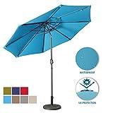Aok Garden 9 Feet Outdoor Market Patio Umbrella with Push Button Tilt and Crank Lift Ventilation,8 Sturdy Ribs Non-Fading Sunshade,Blue