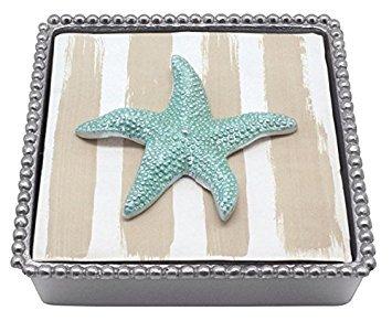 MARIPOSA Aqua Starfish Beaded Napkin Box, Silver