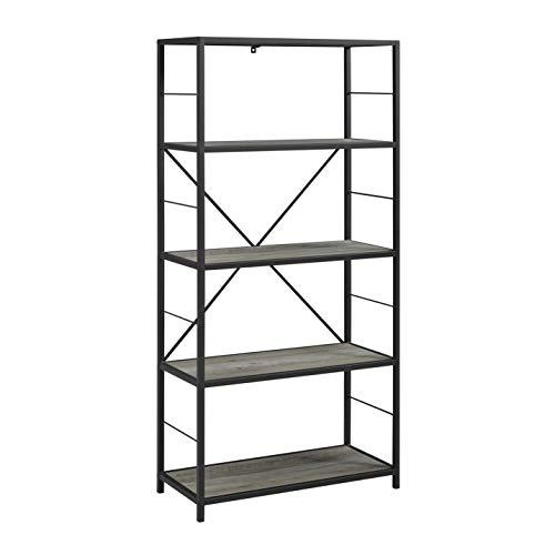 "WE Furniture AZS60RMWGW Bookshelf, 60"", Grey Wash"