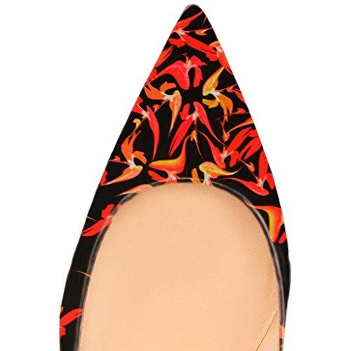 Fsj Donna Sexy Pompe A Punta A Punta Multicolore Slip On Mid Tacchi Alti Scarpe Da Donna Taglia 4-15 Us Red-12 Cm