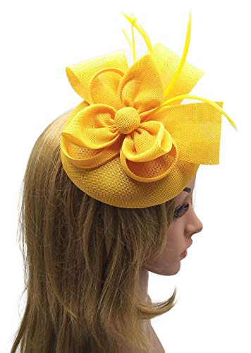 - Biruil Women's Fascinator Hat Imitation Sinamay Feather Tea Party Pillbox Flower Derby (ZA Yellow)