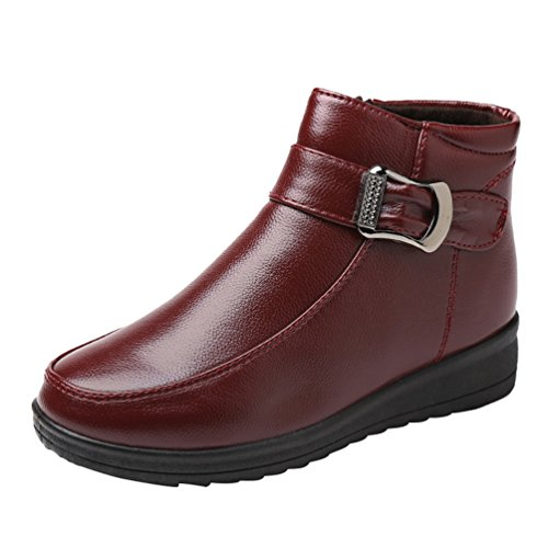 CHENGYANG Damen Schneestiefel Winter Warmer Outdoor Stiefel Faux-Pelz Gefütterte Fläche Schuhe Rot#2