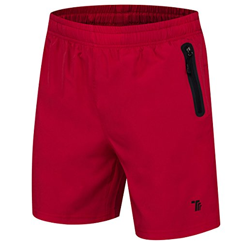 (JINSHI Men's Lightweight Jogging Workout Gym Shorts (Red,S))