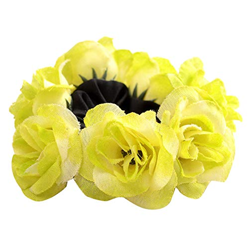 (Dressin Hair Scrunchies Flowers Elastic Hair Bands Scrunchy Hair Ties Ropes Hair Scrunchies Ponytail Holder for Women Yellow)