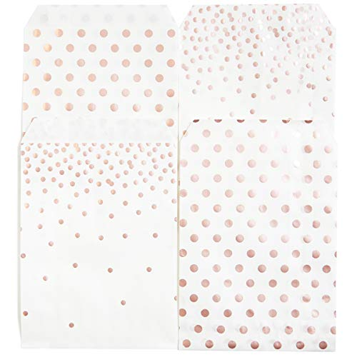 100 Pack Rose Gold Foil Polkadot Grease Proof Paper Treat Bags Food Grade 5.12x7.68inches, 2 Designs Assorted