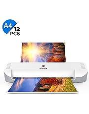 ABOX - Plastificadora A4 A5 A7, 2 rollos laminados en caliente 300 mm/min de alta velocidad, 230 mm de ancho máximo, con 12 fundas de plastificación para oficina, casa o escuela