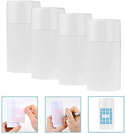 Convenient (White), Empty Deodorant Containers With Cap (4-pack) - 75ml 6 Writable Stickers Refillable Cosmetic Tubes for Travel