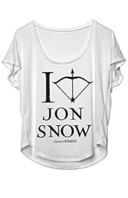 Game Of Thrones - I Love Jon Snow Womens Dolman T-Shirt Short Sleeve Comfortable Machine Washable - Light Gray