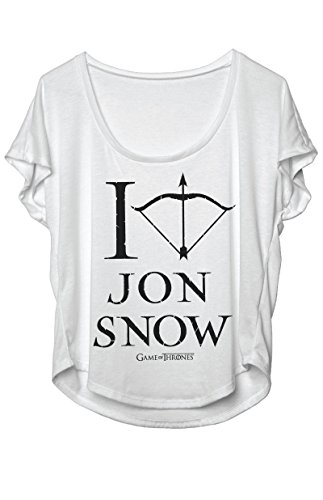 Game Of Thrones – I Love Jon Snow Womens Dolman T-Shirt Short Sleeve Comfortable Machine Washable – Light Gray