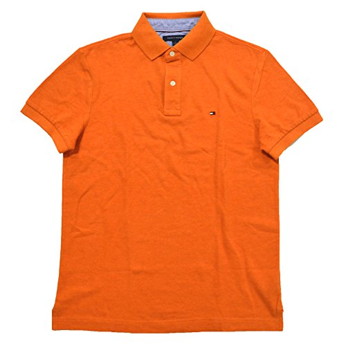 Polo Mesh Collar Shirt - Tommy Hilfiger Mens Mesh Custom Fit Polo Shirt (L, Heather Orange)