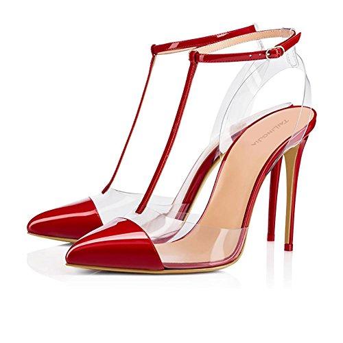 red Pompe Pompa Zhang8 Punta 36 Red Rosso Trasparente Donna A Pvc Sandali rPYtP