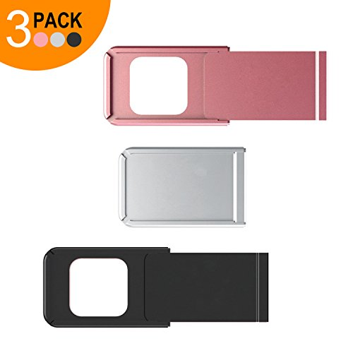 Webcam Cover Slider by Smart La Vision, 3 Pack Ultra Thin Aluminium Web Camera Privacy C Slide for MacBook Pro, iMac, Laptops, Surface Pro,iPhone and Android Smartphones, (3 PACK Silver/Black/Pink)