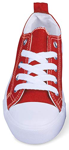 Girls Canvas Sneakers Low Top Classic Fashion Tennis Athletic Shoes Kids (11 Kids, Red)