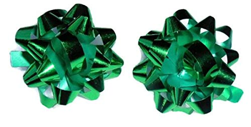 Green Bow Post Earrings Large 1 1/2 Inch Diameter Holiday Christmas