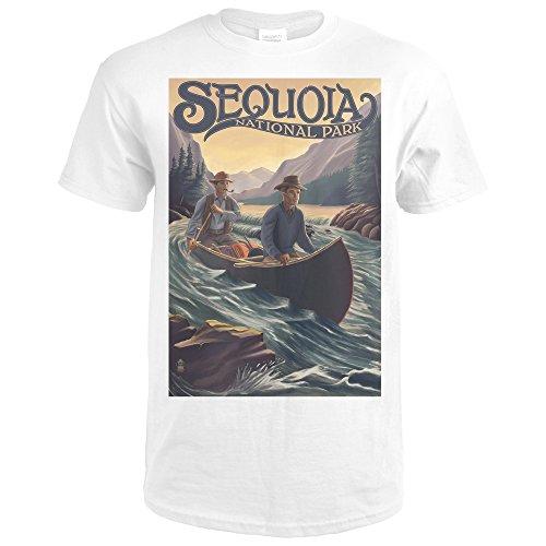 Sequoia National Park - Canoe In Rapids (Premium White T-Shirt XX-Large) (Sequoia Canoe)