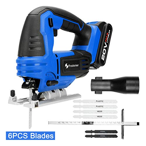 20V Max Cordless Jig Saw with Battery and Charger, PROSTORMER Variable Speed Jigsaw with LED, Tool-free Bevel Cutting Adjustment, 6-Piece Blades and Metal Guide Ruler ()