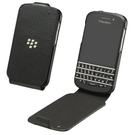 BlackBerry ACC-50707-301 Leather Flip Shell for Rim BlackBerry Q10 - Retail Packaging - Black