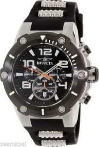 Invicta Black And Silver Chronograph Mens Watch Tritnite Model 19526