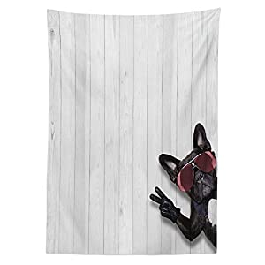 Animal Decor Tablecloth Cool Husky Dog with Sunglasses Making Peace Sign with Paws Art Print Dining Room Kitchen Rectangular Table Cover Light Grey Black