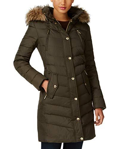 - Michael Michael Kors Faux Fur Trim Down Puffer Coat Dark Moss